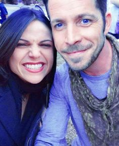 Lana and Sean taking time out of filming Season 4 for a quick selfie.  Love them!  #outlawqueen #EvilRegals #ouat