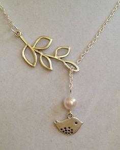 Bridal Leaf and Bird Necklace by joytoyou41 on Etsy, $30.00