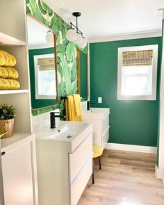 @feisty_pickles recently completed her guest bath, topping it off with a woven wood shade! Get the look with Blinds.com Woven Wood Shades in Malay Oak.  #renovation #remodeling #homdecor #bathroomideas #bathroomdecor #summerdecor #greendecor #decorating #interiordesign Bright Green Bathroom, Tropical Bathroom, Bathroom Colors, Bathroom Images, Bathroom Ideas, Gold Bathroom, Downstairs Bathroom, Bathroom Inspiration, Master Bathroom