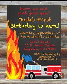 Printable Custom Chalkboard Fireman Firetruck Theme First Birthday Invitation - 1st Birthday Boy Invitation - Fire Theme Birthday Party by ViaBarrett on Etsy