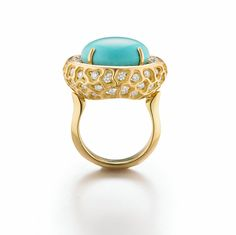 Turquoise and diamond Anemone  dome ring by Sami Zeira. zeira | Anemone Collection