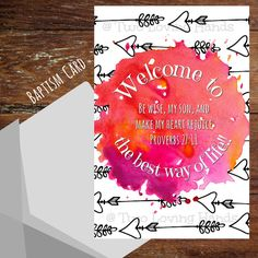 Welcome to the best way of life,  Proverbs 27:11, Baptism card, jw cards, jw gifts, Jehovah's Wittnesses by twolovinghands on Etsy