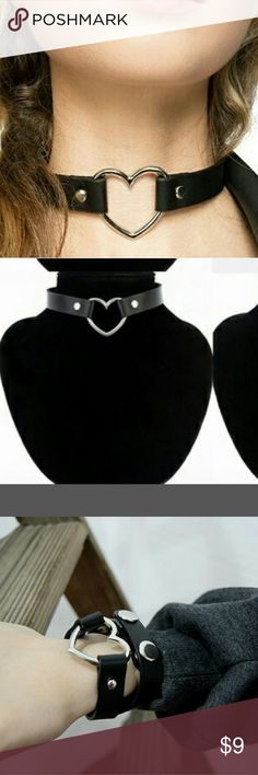 Black choker with silver heart.Choker and bracelet Brand new. Can be worn as a choker or necklace. Jewelry Necklaces