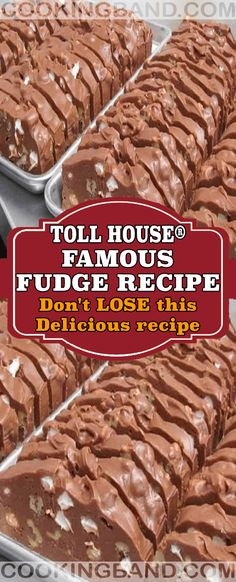 Toll House® Famous Fudge Recipe – Page 2 – Cooking Band Fudge Recipes, Candy Recipes, Sweet Recipes, Cookie Recipes, Dessert Recipes, Southern Recipes, Holiday Recipes, Mr Food Recipes, Just Desserts