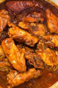 One-Pot Sweet and Spicy BBQ Chicken Wings - the wings take on the flavors of our sticky, Asian-style barbecue sauce with this recipe. The wings are fall-off-the-bone, thanks to the low-and-slow cooking. Pressure Cooker Chicken Wings, Cooking Chicken Wings, Baked Chicken Wings, Chicken Wing Recipes, How To Cook Chicken, Chicken Meals, Fried Chicken, Cooker Recipes, Beef Recipes