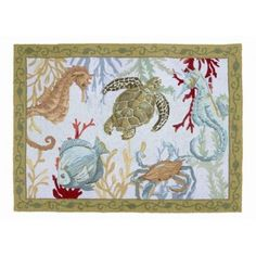 Sealife Wool Hooked Rug