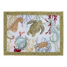 Sealife Wool Hooked Rug
