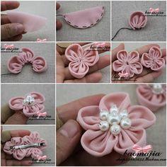New flowers diy fabric easy fun ideas Making Fabric Flowers, Flower Making, Diy Flowers, Flowers In Hair, Flower Diy, Diy Ribbon, Ribbon Crafts, Flower Crafts, Fabric Crafts