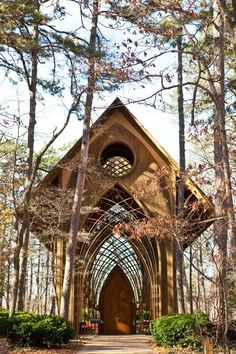 There are 3 similar chapels in Arkansas, designed by the same firm.  This is the Mildred Cooper Memorial chapel located in Bella Vista, Arkansas.  It is often listed incorrectly as the Thorncrown Chapel in Eureka Springs, Arkansas.