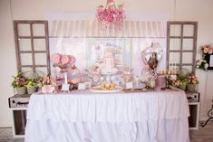 french patisserie party-such a cute girl party theme, love the cute table scape, colors, and eiffel tower cookies