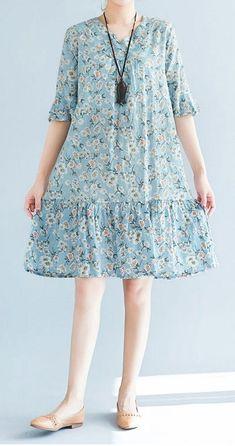 Vestido holgado para mujer talla grande retro flor azul vestido skater falda moda chic ... - #azul #chic #falda #flor #grande #holgado #moda #mujer #para #retro #skater #talla #vestido