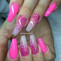 Ombre Nails Coffin Glitter are one of women's favorite nails, if not the most popular. Because of their length and shape, they can do bold designs and colors very well. This is an opportunity to make your nail design, especially if you use decals, ge Nail Design Glitter, Ombre Nail Designs, Short Nail Designs, Cute Nail Designs, Glitter Nails, Gel Nails, Glitter Art, Coffin Nails, Toenails