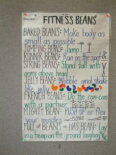 Fun p.e. warm-up activity: Fitness Beans!