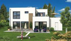 Villa im Bauhaus-Stil mit großer Dachterrasse und integrierter Garage