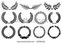 Wreath set (wreath collection, laurel wreath, oak wreath, wreath of wheat, palm wreath and olive wreath) - stock vector