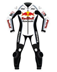 Kawasaki Redbull Motorbike Race Leather Suit
