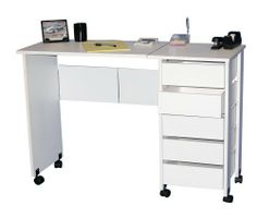 """Venture Horizon Mobile Desk/Workstation-White by Venture Horizon. $149.95. Casters add mobility. Solid, sturdy and easy to clean. Folds for storage. Large work surface. 5-roomy shelves. Whether you want a sewing center, a Crafting Table, a handy organizer from which to pay bills or an extra desk for the home office our Mobile Work Center is right for the job. The single version, Model # 1010 opens to an impressive 44"""" wide yet folds to only 29½"""" h x 17"""" w x 16""""d. Four (4) ..."""