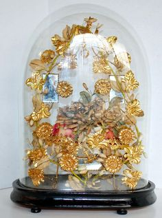 French Globe de Mariée....filled with ormolu...fabric berries and more...