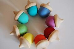 Painted acorns.  These are made using wood acorns but real acorns would work as well.