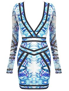 Long Sleeve Tropical Print Bandage Dress . Shop Now At http://misscircle.com/Dresses/Bandage-Dress/By-Color/Blue/Long-Sleeve-Tropical-Print-Bandage-Dress.html