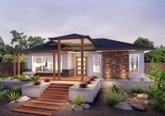 GJ Gardner Home Designs: The Shoalwater. Visit www.localbuilders… to find your ideal home design in Australian Capitol Territory Bungalow Haus Design, Modern House Design, Exterior House Colors, Exterior Design, Bungalow Exterior, Australian Homes, Facade House, House Front, Future House