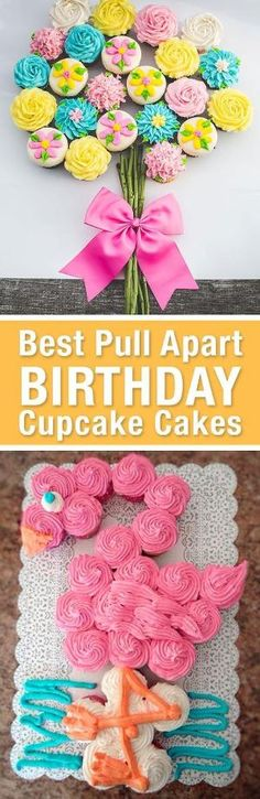 Best Birthday Pull Apart Cupcake Cakes. Simple creative cake inspiration for a birthday party celebration. LivingLocurto.com by julia