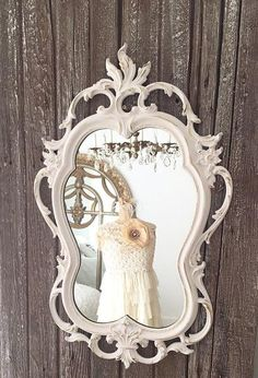 Nursery Mirror White Shabby Chic Baroque Mirror Decorative Wall Mirror - Hallstrom Home - 1