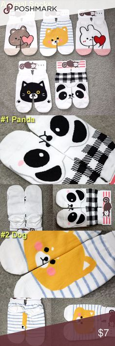 NWT Women's Socks Cute Animal Face New with tag  ONE SIZE FITS MOST (5-9 women)   1.Panda 2.Dog 3.Brown Bear 4.Black Cat 5.Pink Rabbit Accessories Hosiery & Socks