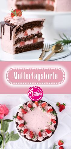 Strawberry Cake for Mother's Day / Chocolate Cake / Drip Cake / Sally's World - Cheesecake Recipes Drip Cakes, Cheesecake Recipes, Cookie Recipes, Cheesecake Cookies, Cheesecake Bites, Mothers Day Chocolates, How To Grill Steak, Strawberries And Cream, Food Cakes