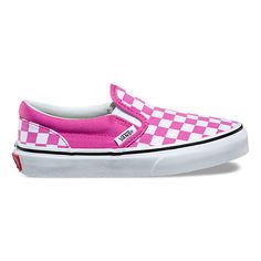 Kids Checkerboard Slip-On Vans Slip On Shoes, Vans Sneakers, Sock Shoes, Cute Vans, Cute Shoes, Me Too Shoes, Vans Shoes Fashion, Vans Checkerboard, Fresh Shoes