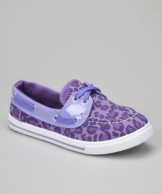 Take a look at this Purple Leopard Boat Shoe by Chatties on #zulily today! @Marcia Winkfield