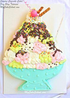 Cupcakes Design, Cupcake Cake Designs, Cupcake Cakes, Car Cakes, Cupcake Ideas, Cakes To Make, Pull Apart Cupcake Cake, Pull Apart Cake, Sundae Cupcakes