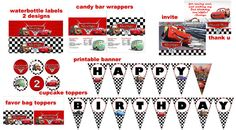 Disney Cars 2 Birthday Party Package Digital File  Print as many as you need