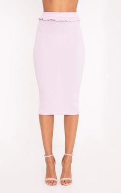 Kaiya Lilac Frill Waist Rib Midi Skirt  Image 2