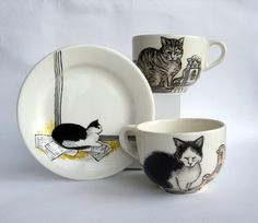Amsterdam cats - Big Handpainted Mug made to by houseofharriet, $65.00