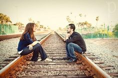 Really fun engagement photos - on a railroad track