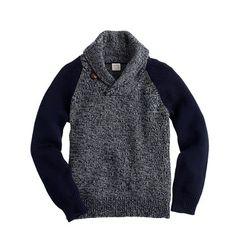 J.Crew - Boys' cotton shawl-collar baseball sweater