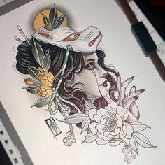 tattoos in japanese prints Geisha Tattoos, Geisha Tattoo Design, Japan Tattoo Design, Japanese Tattoo Art, Japanese Tattoo Designs, Japanese Sleeve Tattoos, Hanya Tattoo, Yakuza Tattoo, Kunst Tattoos