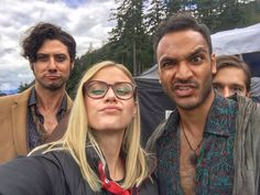 Funny faces from Arjun Gupta, Olivia Dudley, and Hale Appleman of #TheMagicians. Photobombed by Jason Ralph. (via ArjunGuptaBK on Twitter)