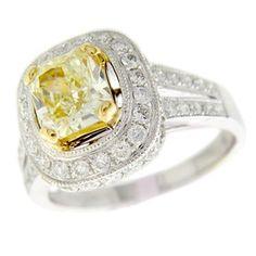 18KW 1.03ct Natural Intense Yellow Diamond Radiant .76ctw Diamond Ring.  Want!!!