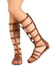 Soda Bappy-S Women Leatherette Strappy Gladiator Knee High Flat Sandal