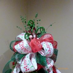 Red and Green Tree topper  Ribbon topper  Tree decorations