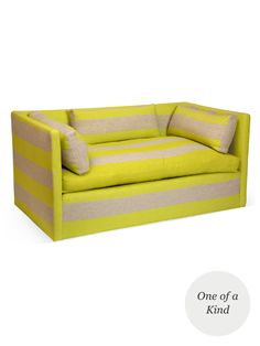 One of a kind stripe sofa      Upholstered in Rigato Stripe in Alchemilla, by Designer's Guild      Seat height measures 18 inches      Overall measures 28 inches in width by 60 inches in depth by 29 inches in height