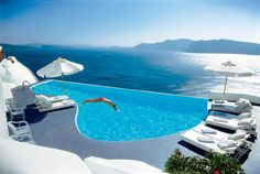 The pool at The Katikies Hotel in Oia Santorini