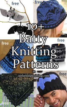 Knitting Patterns with Bat Motifs for hats, mitts, toys, shawls, and more. Beginner Knitting Patterns, Knitting Basics, Knitting For Beginners, Loom Knitting, Knitting Designs, Knit Patterns, Free Knitting, Knitting Projects, Halloween Knitting Patterns Free