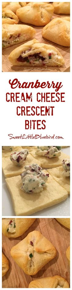 CRANBERRY-CREAM CHEESE CRESCENT BITES! A delicious one-bite stuffed crescent appetizer that will have family and friends asking for more and begging for the recipe! Best of all, they're a cinch to make!