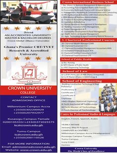 Crown University College: Attend an accredited University