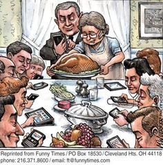 The New Thanksgiving Gathering, yup , vertually everyone on a device!now what would Norman Rockwell think of this ? Satire, Caricatures, Tech Humor, Spanish Memes, Ap Spanish, Humor Grafico, Norman Rockwell, Double Take, Image Hd