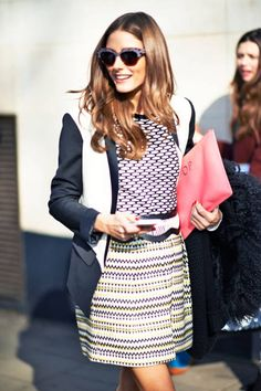 We agree with Olivia Palermo - the more patterns, the better #streetstyle