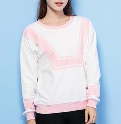 Womens color block sweatshirt in autumn wear white pullover sweatshirts